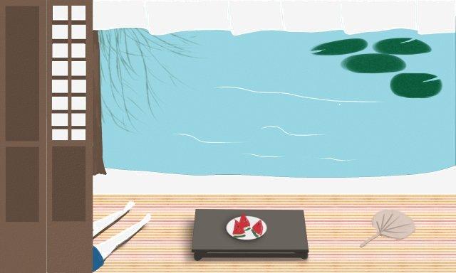 夏天夏天夏天池塘 插畫素材 插畫圖片