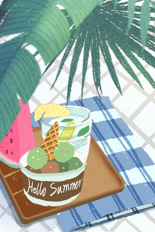 summer summer summer summer, Fruit, Ice Cream, Lemon Tea illustration image