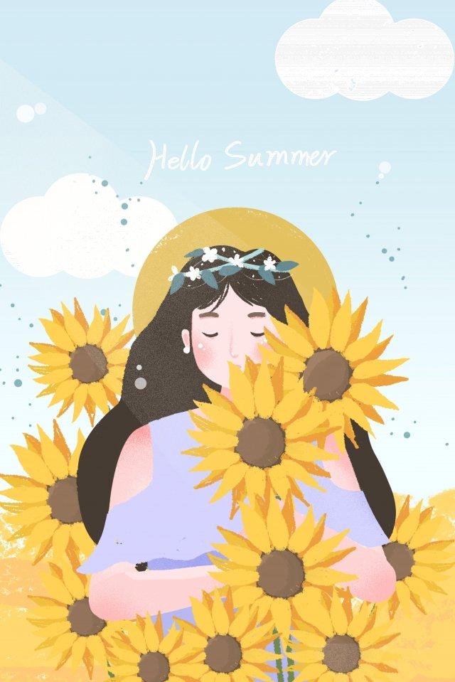 गर्मियों की गर्मियों में सूरजमुखी लड़की चित्रण छवि