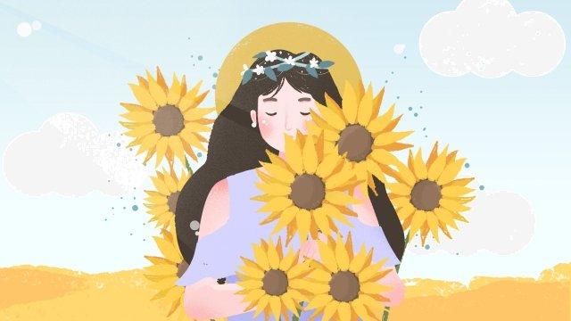 夏夏ひまわりの女の子 イラストレーション画像 イラスト画像