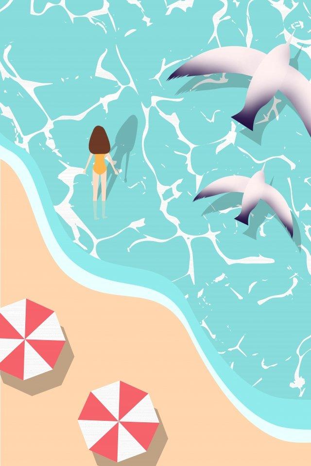 summer summer swimsuit girl wearing a swimsuit, Girl, Summer, Seagull illustration image
