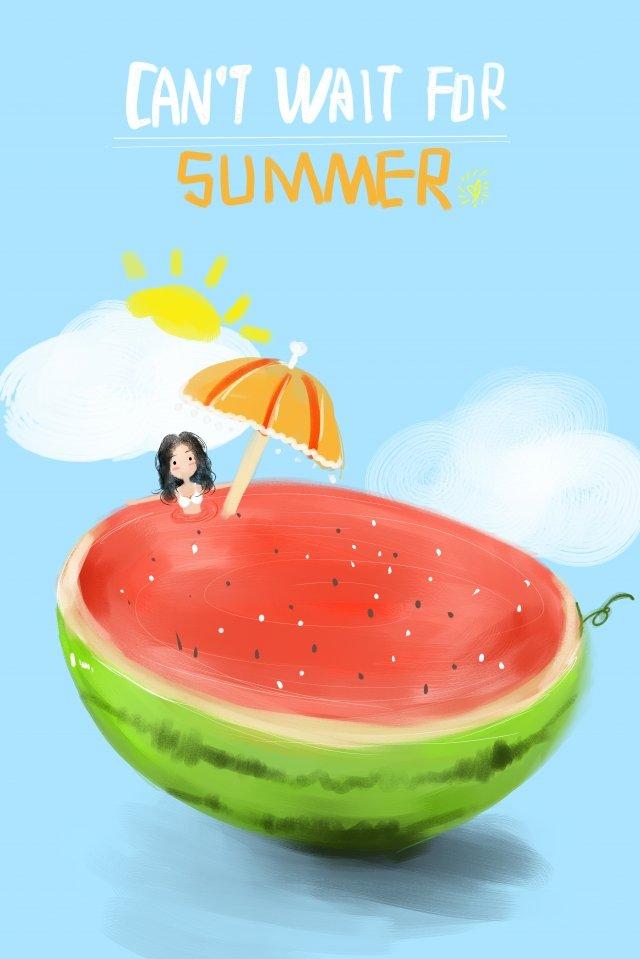 夏夏スイカ太陽傘 イラスト素材