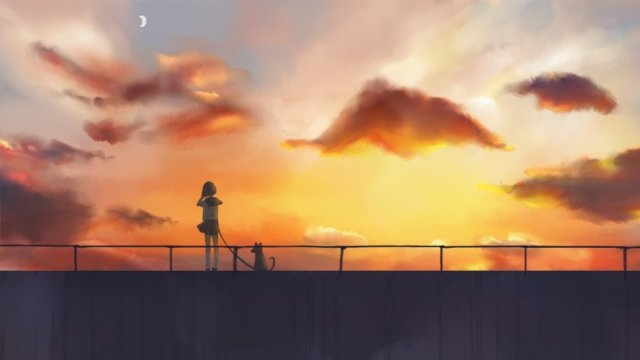 summer sunset sunset glow dusk, Sunset, Landscape, Teenage Girl illustration image