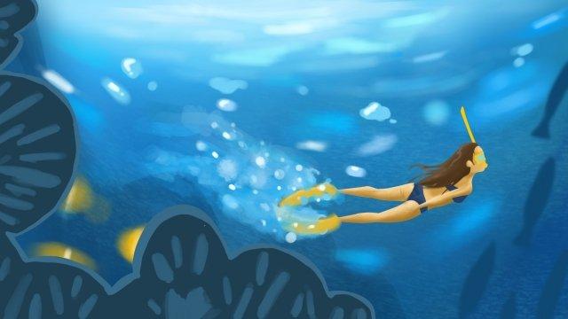 夏天游泳離開涼爽 插畫素材