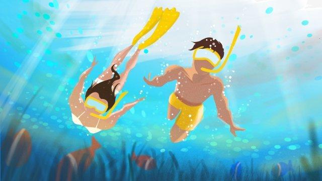mùa hè bơi lá mát mẻ Hình minh họa
