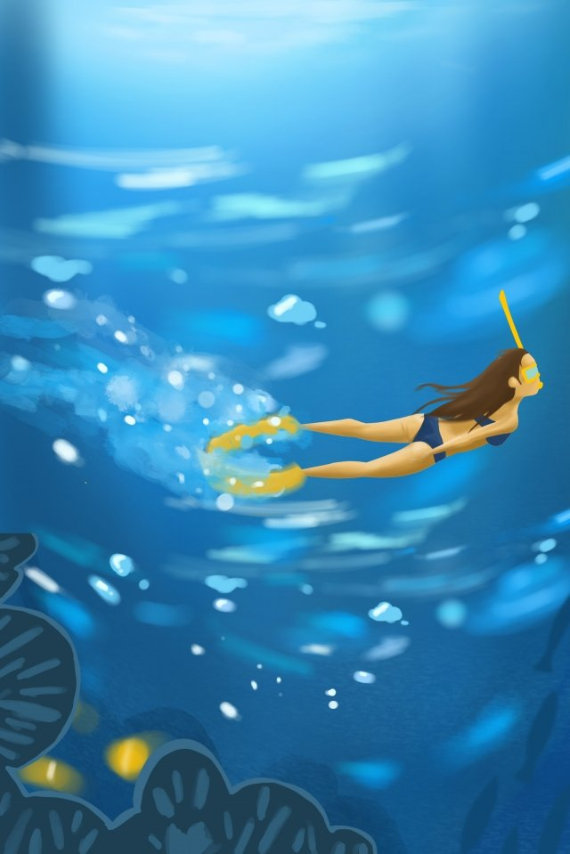 summer swim leaves cool illustration image