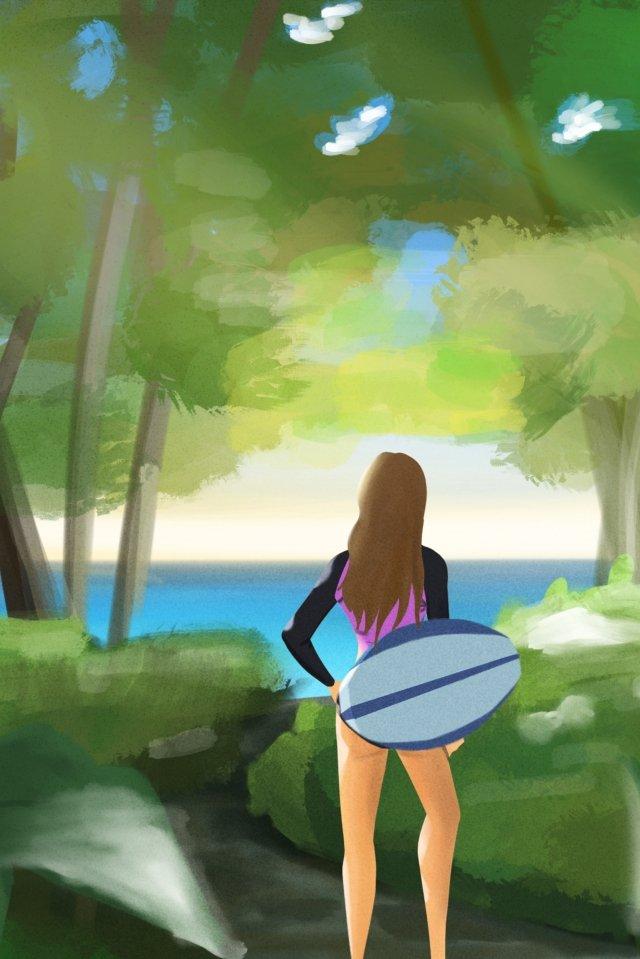 夏の水泳は涼しい葉 イラスト素材