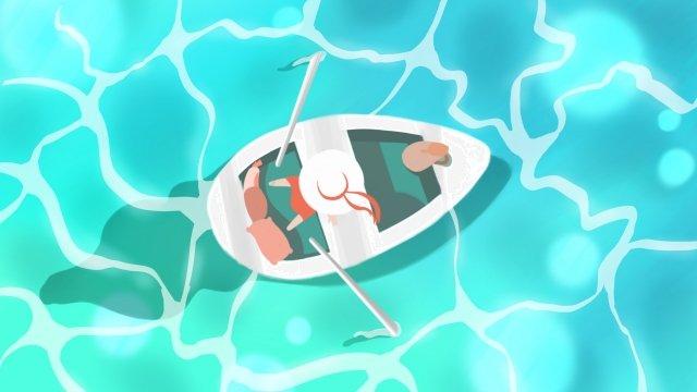 夏天游泳海洋很酷 插畫素材