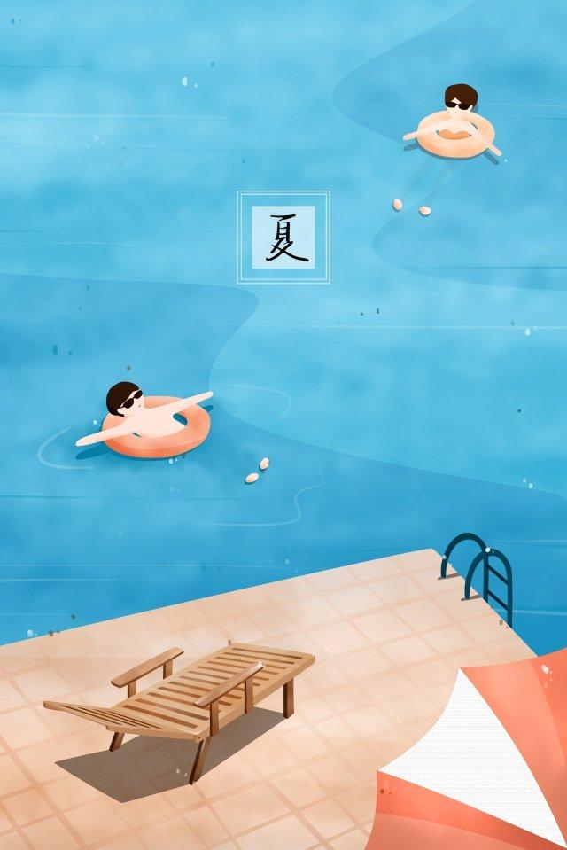 夏季游泳池救生圈游泳 插畫圖片