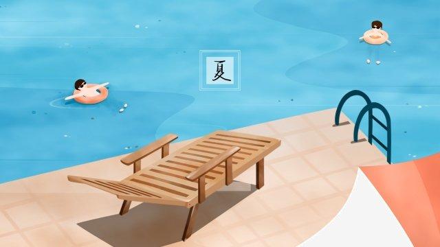 夏プール救命浮輪水泳 イラスト素材