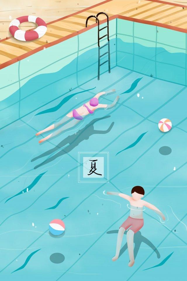 泳池裡的人在游泳 夏季 游泳池 游泳圈 泳球 泳衣 游泳的人 水池扶梯 水波 藍色 涼爽泳池裡的人在游泳  夏季  游泳池PNG和PSD圖片素材 illustration image