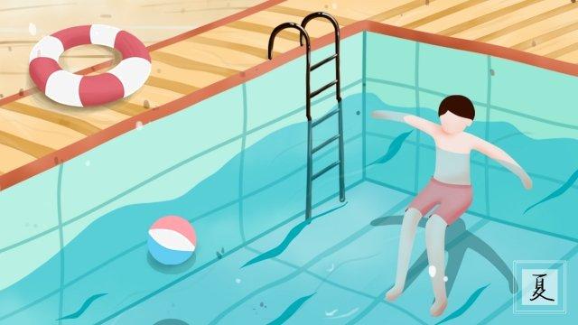 泳池裡的人在游泳 夏季 游泳池 游泳圈 泳球 泳衣 游泳的人 水池扶梯 水波 藍色 涼爽夏季  游泳池  游泳圈PNG和PSD圖片素材 illustration image