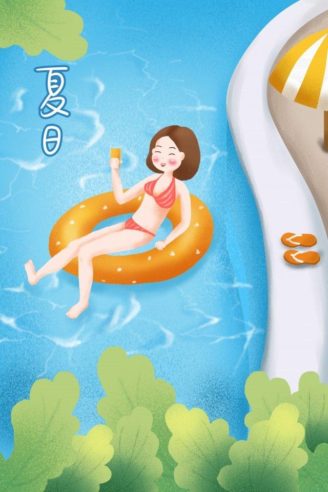 夏水泳リング女の子ドリンク イラスト素材