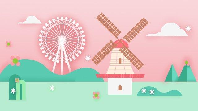 夏の観光オランダ風車 イラスト素材