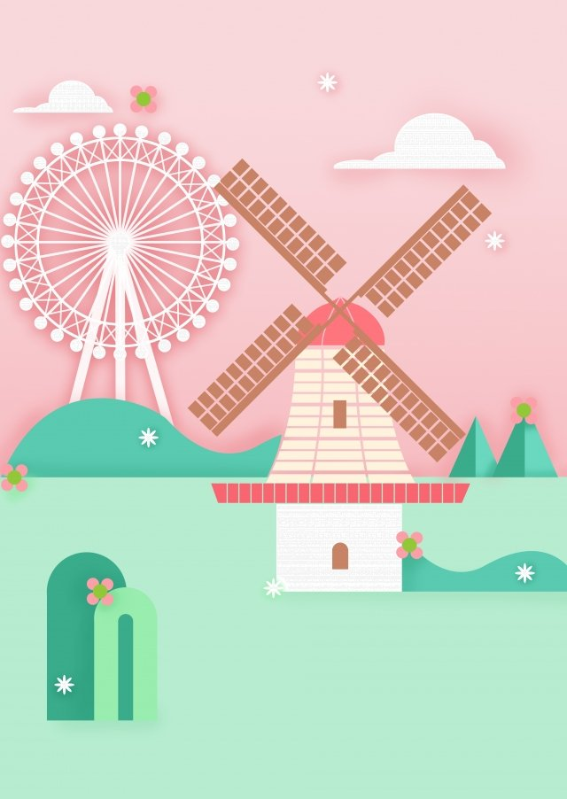 夏季旅遊荷蘭風車 插畫素材