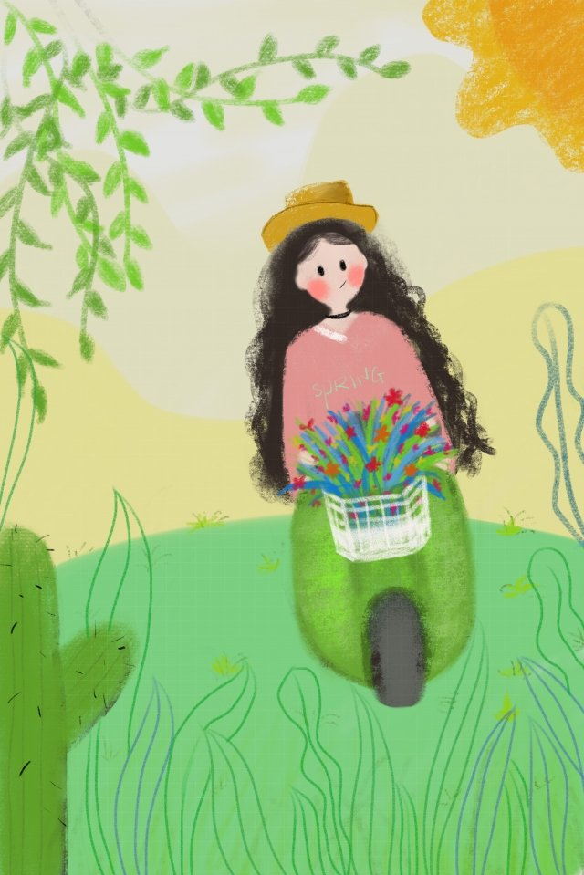 summer travel girl grass, Hand Painted, Illustration, Lovely illustration image