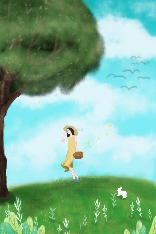 summer travel season background image rabbit, Girl, Big Tree, Lawn illustration image