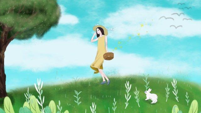 여름 여행 시즌 배경 이미지 토끼 삽화 소재