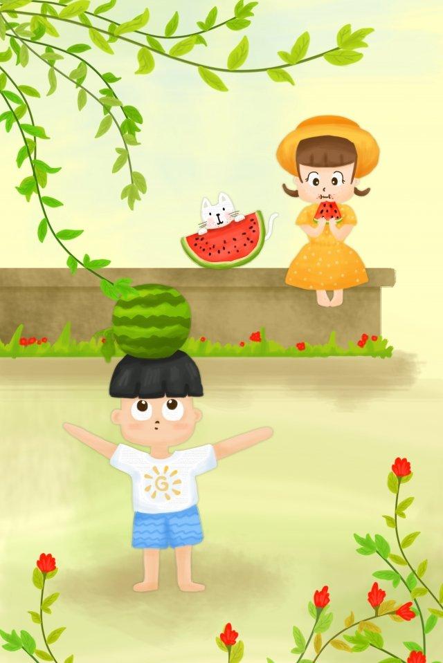 夏天樹六個孩子的一天 插畫素材