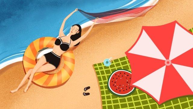 गर्मियों की छुट्टी समर समर बीच पर आ रही है चित्रण छवि चित्रण छवि