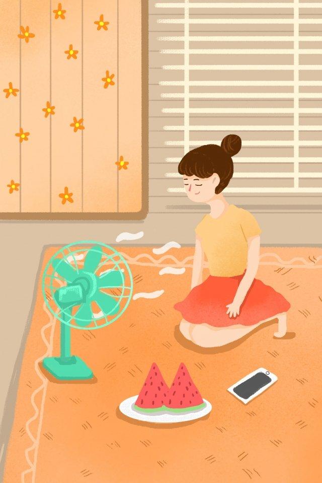 暑假假期在家度假大暑插畫 暑假 暑期 度假 插畫 插圖 素材 風扇 節氣暑假假期在家度假大暑插畫  暑假  暑期PNG和PSD圖片素材 illustration image