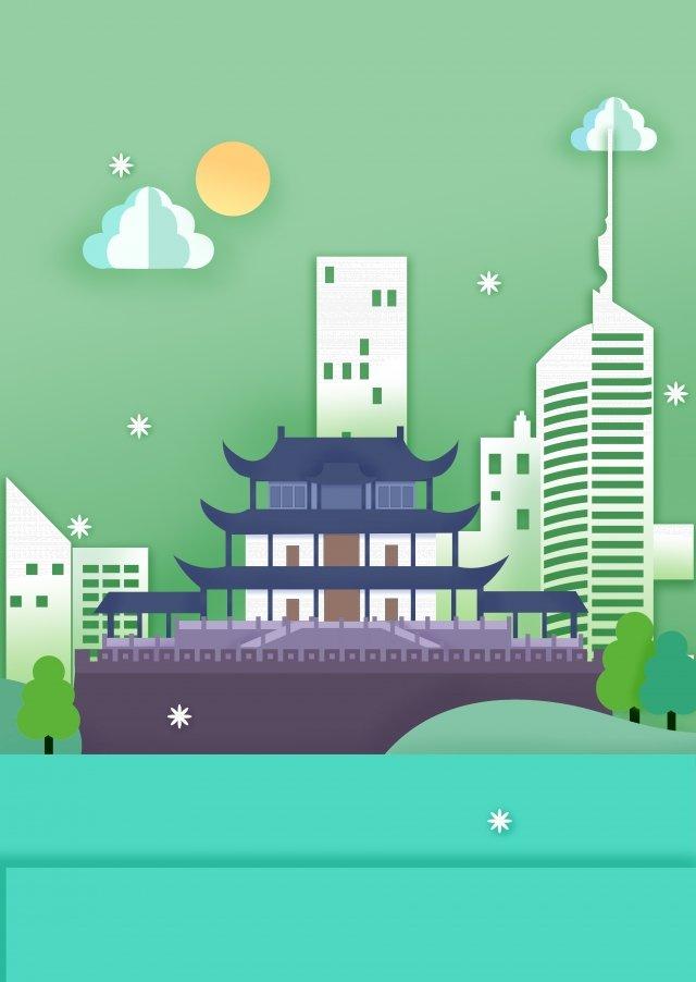暑假旅遊湖南天信館 插畫素材