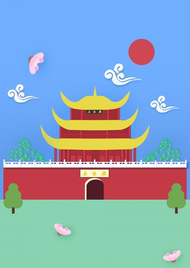 暑假旅遊岳陽塔卡通 插畫素材