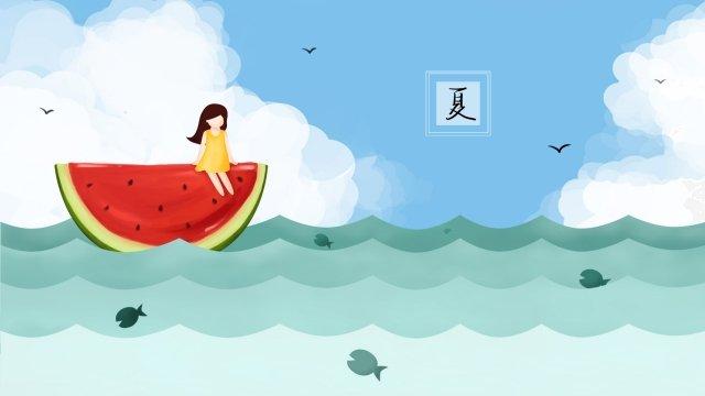 गर्मियों में तरबूज नौका तैरते हुए चित्रण छवि