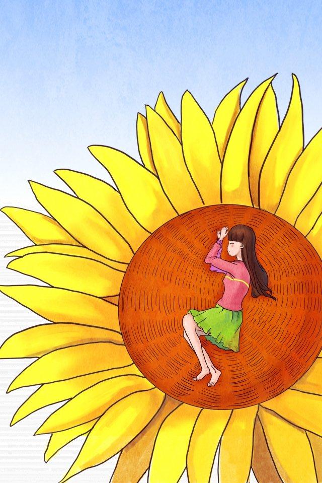 ひまわり治療美少女 イラストレーション画像 イラスト画像