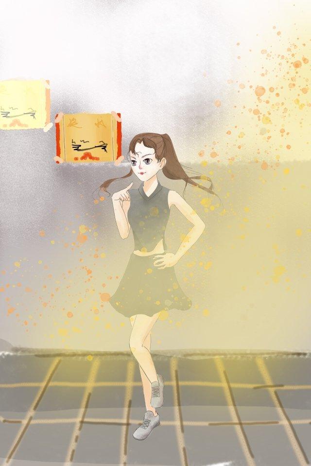 ハッピーサンシャインダンスガール 日光 可愛い 少女 証明書 家族 イラスト 風景 踊る ダンス 風景 しあわせ日光  可愛い  少女 PNGおよびPSD illustration image