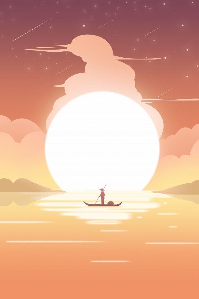 sunset cloud sky fisherman, Sunset, Cloud, Sky illustration image
