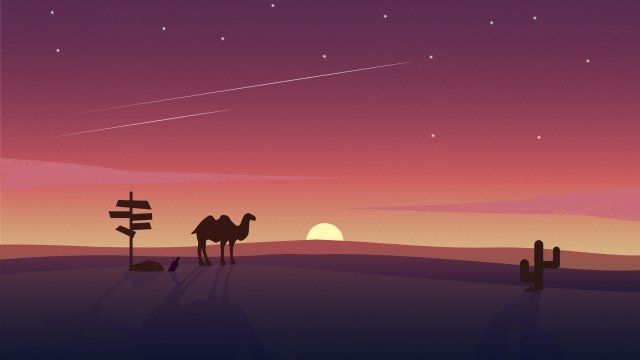 sunset desert camel red, Landscape, Sunset, Desert illustration image