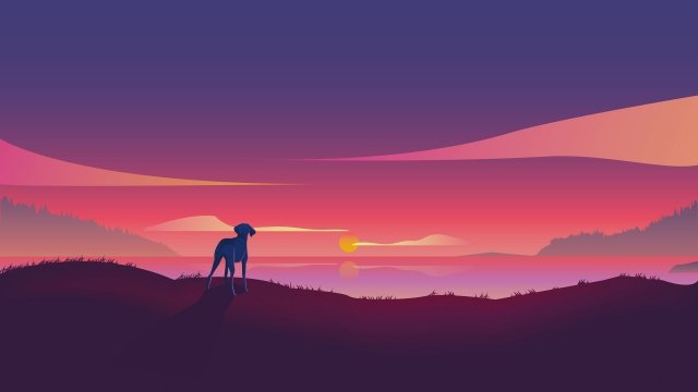 sunset dog fire cloud sunset, Lake, Mountain, Gradient illustration image