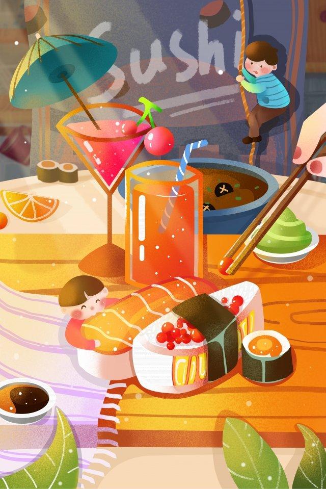 nước sốt cá sushi nước ép trái cây Hình minh họa