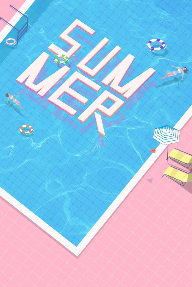 swimming pool business poster clean and refreshing pink, Swimming Ring, Backstroke, Water Pattern PNG and PSD illustration image