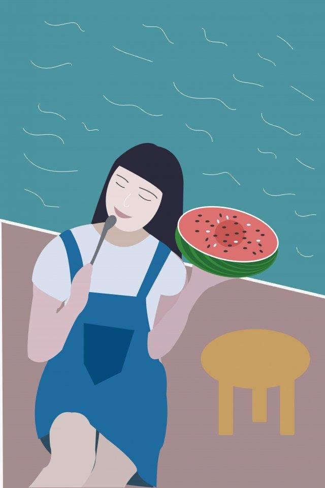 swimming pool girl watermelon half a watermelon illustration image