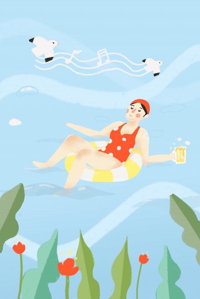 スイミングプールプールドリンクビール イラスト素材 イラスト画像