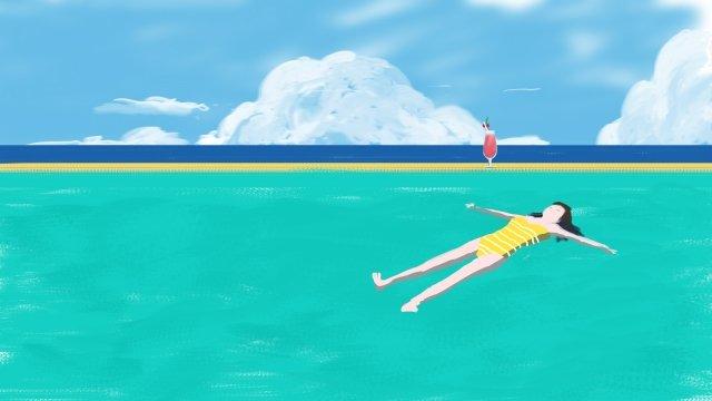 swimming pool swim girl swimsuit llustration image