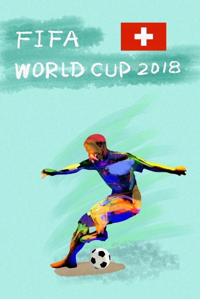 スイスサッカーワールドカップ2018 イラスト素材