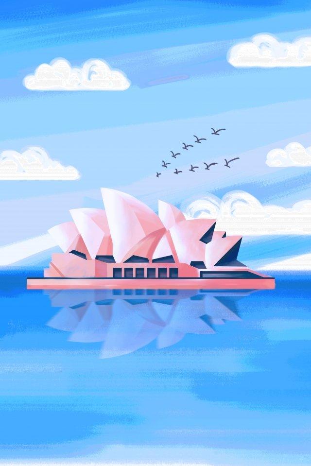 시드니 랜드 마크 시드니 오페라 하우스 손 질감을 그린 삽화 소재