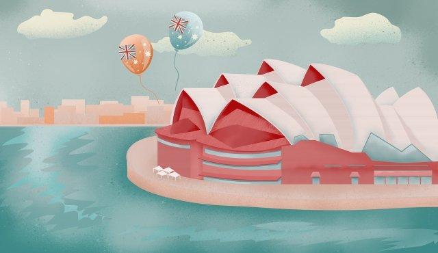sydney opera city landmark, Romantic, Seaside, Show illustration image
