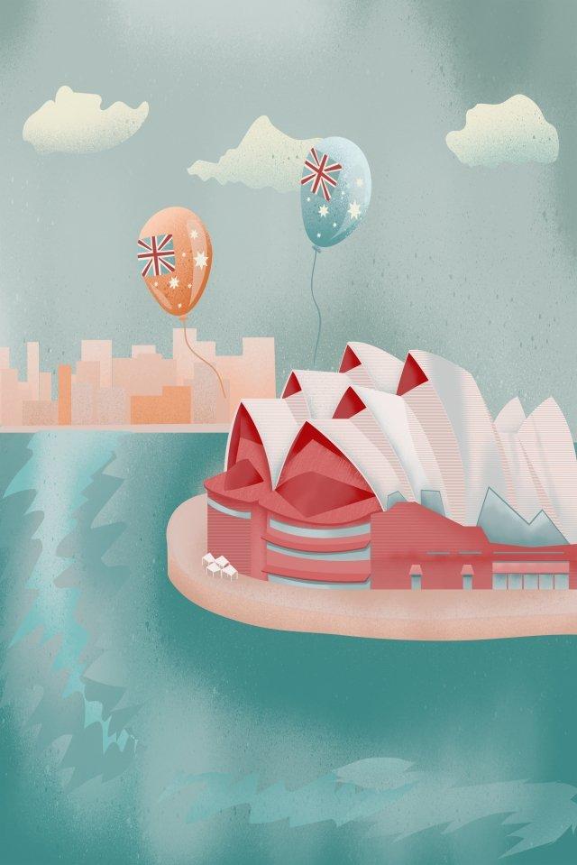 시드니 오페라 시티 랜드 마크 삽화 소재 삽화 이미지