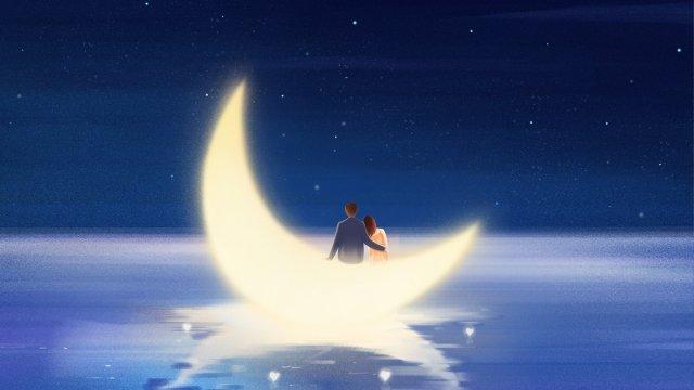tanabata夫婦月亮彼此相愛 插畫素材 插畫圖片