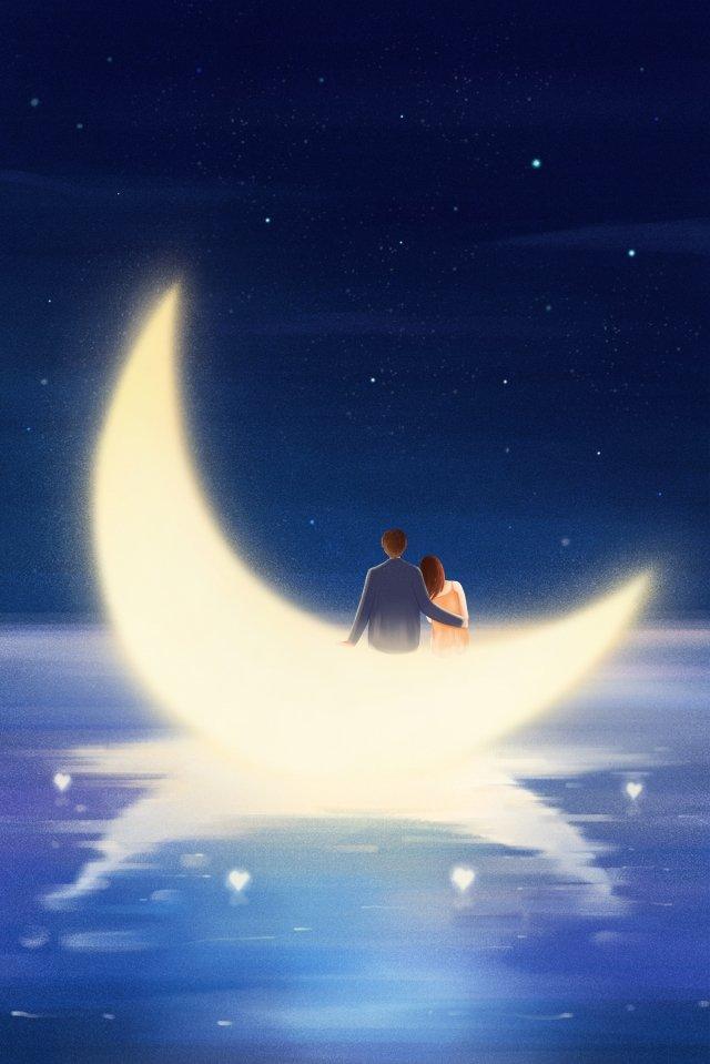 tanabata cặp đôi mặt trăng yêu nhau Hình minh họa
