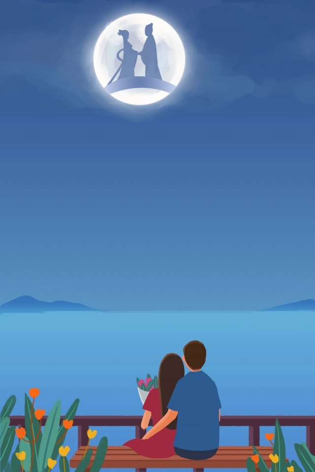 tanabata couple romantic appointment, Cowherd And Weaver, Bridge, Moon illustration image