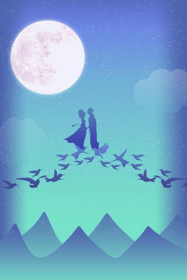 tanabata cowherd weaver bridge Immagine dell'illustrazione