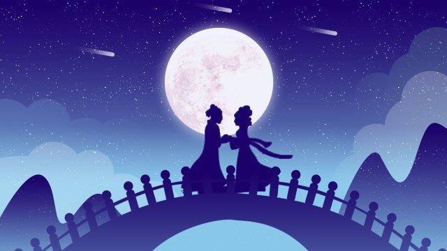 Ilustração de garota tecelão Qixi Niu Lang Tanabata Cowherd Tecelão Ilustração Dia dos namorados Micro gradiente Ponte Cloud Moon EstrelaTanabata  Cowherd  Tecelão PNG E PSD illustration image