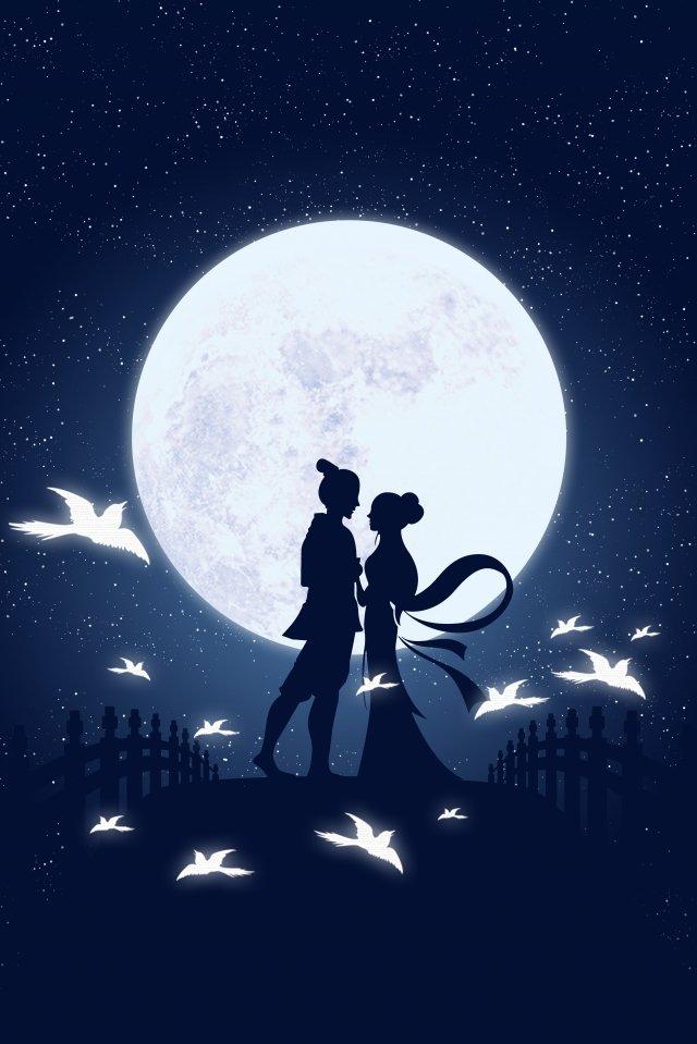 Ilustração de garota tecelão Qixi Niu Lang Tanabata Cowherd Tecelão Ilustração Micro gradiente Ponte Pega Moon Estrela NoiteIlustração  De  Garota PNG E PSD illustration image