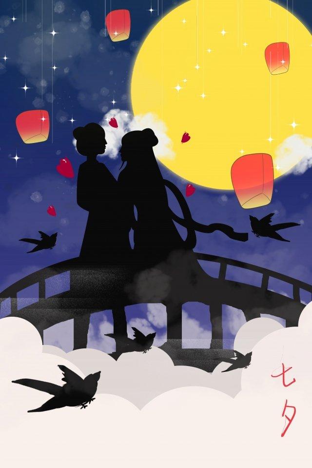 tanabata節日情侶剪影月亮 插畫素材