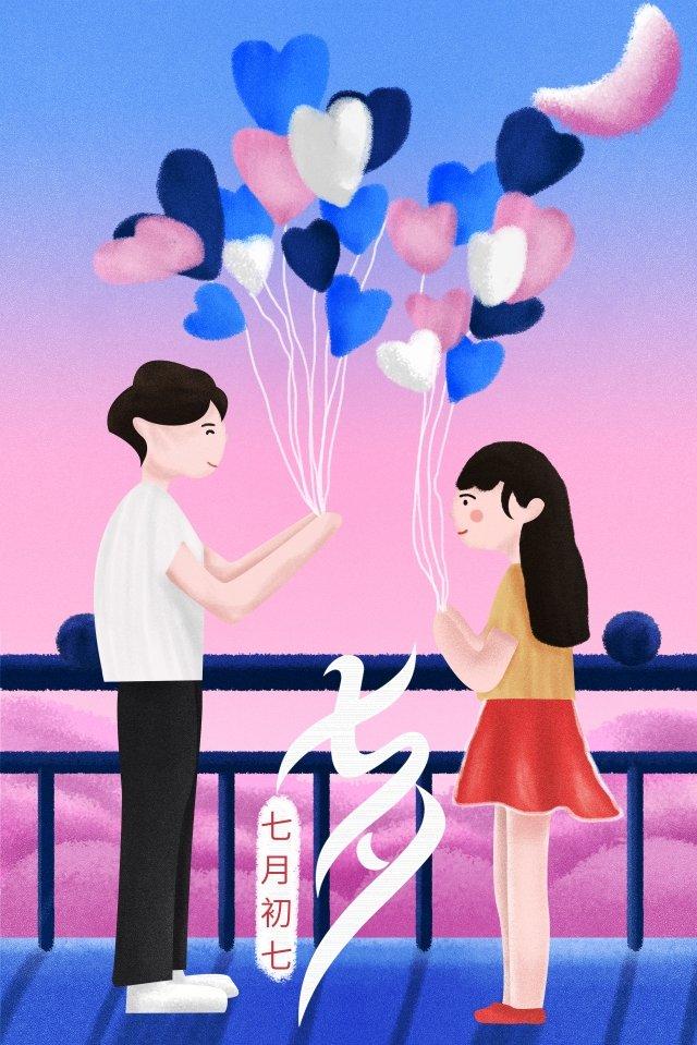 tanabata節日情人浪漫 插畫素材